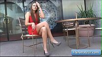 Blonde cutie amateur Aveline wearing a sexy red dress fnger fuck her pierced pussy in public