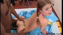 Pigtail Tiny Teen Stretched by the Monster
