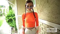 Skinny pigtail teen Carmen Rae gets banged hard by hookup hotshot