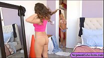 Naughty mom and teen girl amazing lesbosex on the bed