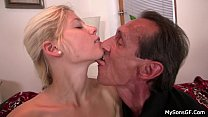 She sucks and rides older man cock