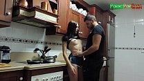 Sex between the kitchen stoves with the busty brunette