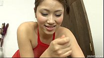 Iori in Red Fishnet Body Stocking Giving a Footjob