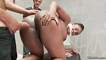 Busty ebony get cane and fuck outdoor