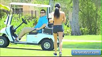 Sexy cute teen amateur brunette Mya gets naked on the golf course and show her nice sexy body