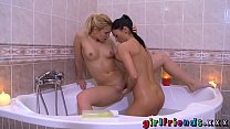 Girlfriends Tight teens shave each other and make love in bath