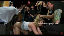 Slut gets in trouble and ends up thrashed and tied up by a bunch of horny men