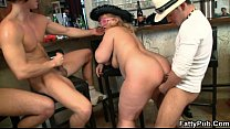 Three dudes have fun fucking these fat hotties