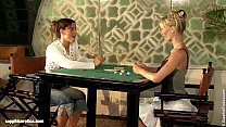 Geena and Britta play poker and then with some toys on Sapphic Erotica