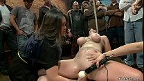 Busty redhead toyed in public d.