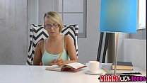 Damn hot babe Pressley licks MILF Olivias wet pussy on couch