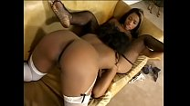 Freaky black whore licks her friends shaved pussy