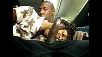 Black stud gets his huge cock sucked by ebony slut on the back seat of a bus