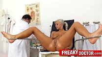 Beautiful blonde Nathaly Heaven vagina exam