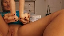 Amateur wife shows off skills footjob while playfully masturbating