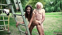 Old man plays a sex game with young girl they have super hot sex