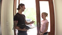 Horny stud gets a BJ then bangs a cute babe Brooklyn JoLeigh on the couch