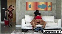 Hot babe Amara fucks bf and her stepmom in threesome