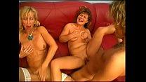 Hot guys bang two really mature porn stars
