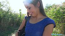 Public Agent Tight sexy Czech shaved pussy fucked outdoors