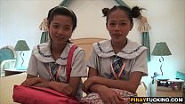 Two Asian Amateur Cuties Sharing A White Dick