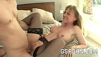 Busty mature blonde Nina Hartley fucked by a young cock
