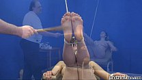 Amateur feet whipping and foot fetish of bondage babe in hardcore bdsm