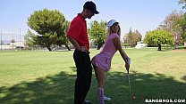 Sexy Golfer Girl gets on Her Knees for Dick