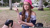 ExxxtraSmall  cumming on hot petite teen Monica Rise's face