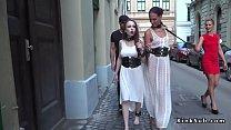 Slaves in white dresses fucking in public