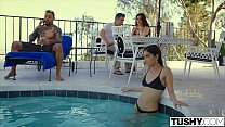 TUSHY Girlfriend Gets Dominated By Power Couple On Vacation