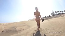 Left the beach naked... (Public nudity)