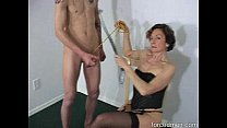 Oldie mistress demands man to masturbate before she sucks his cock