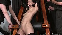 Enslaved painslut Elise Graves whipping in hard bdsm punishment session of tit t