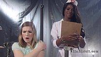 Ebony nurse anal fucks brunette patient