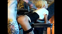Busty milf does anal sex in black fishnet stockings