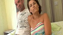 Busty amateur french housewife double penetrated and cum covered in a gangbang