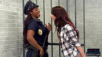 Black female cop strapon fucked by a hot teen inmate