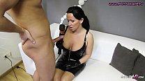 Dominater Blow und Handjob von deutscher Latex MILF Domina - German BDSM