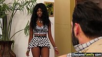 Ebony step daughter begs white dad to fuck her pussy & mouth  - fucked up family