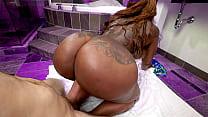 Black BBW gets boned by a white dick - black porn