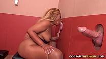 BBW Ebony Shanice Gives Blowjob And Gets Fucked By White Gloryhole Cocks