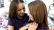 Young girls Dulce and Malin from Sapphic Erotica lesbian fuck with a dildo on th