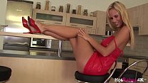 Blond with big perfect tits Raylene Richards teases solo