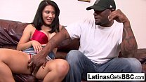 Brunette cutie Liv Aguilera takes BBC on the couch