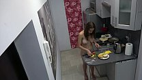 Czech cute teen - Naked cooking, voyeur spy cam at home