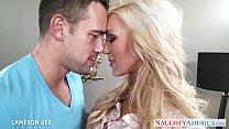Superb blonde Cameron Dee gives blowjob