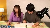 Japanese home teacher in stockings provokes student