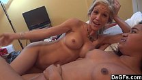 Threesome with petite milf and a hot ass black