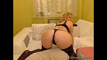 Busty blonde MILF toys her pussy on webcam